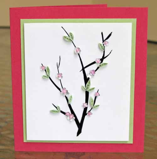 Tự làm thiệp Tết handmade hoa đào tặng người thân