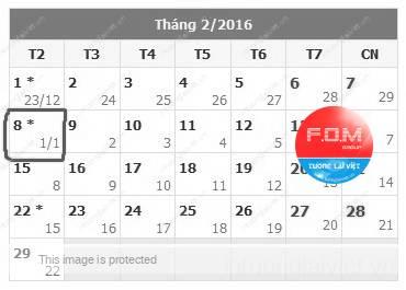 Xem Lịch Tết 2016 (Lịch vạn niên 2016)